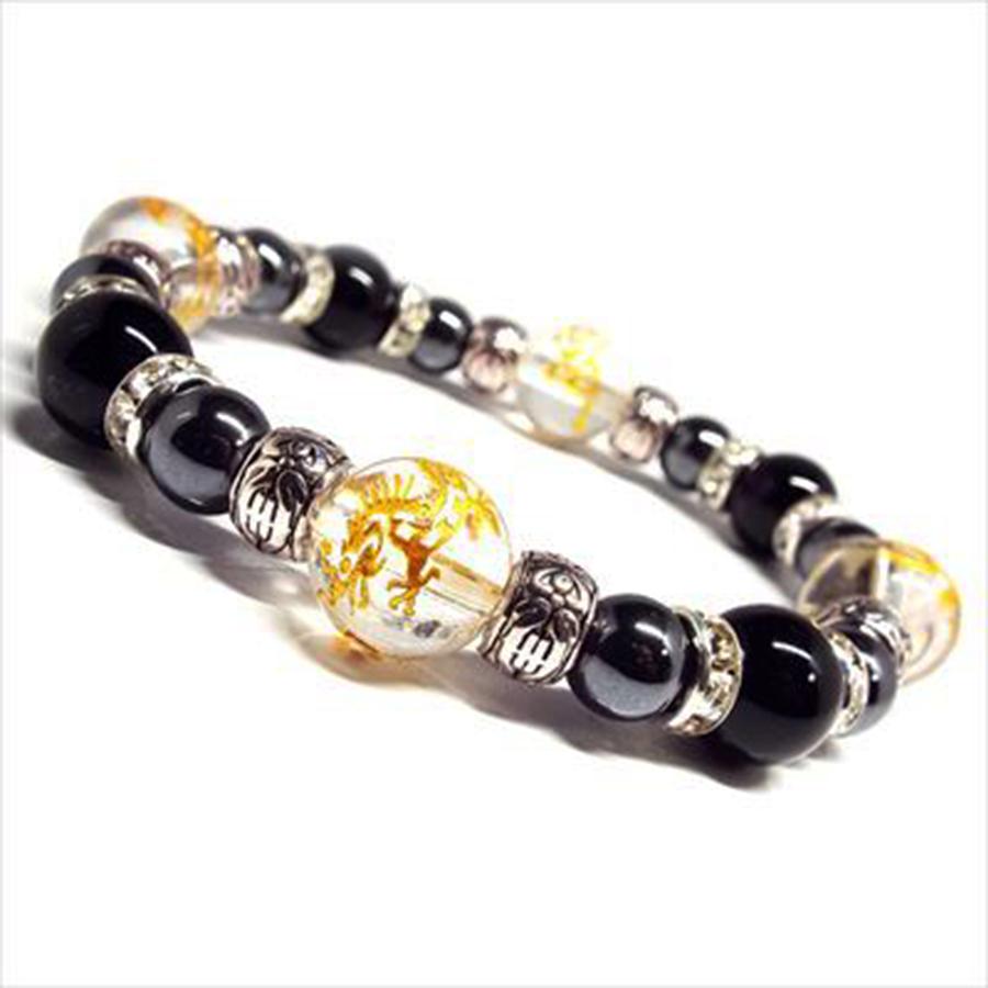 【運気上昇】天然石 オニキス&ヘマタイト 四神相応 ブレスレット(12mm)