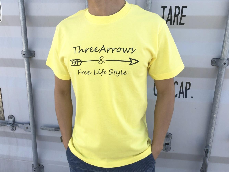 【Fine7月号掲載】ThreeArrowsロゴ Tシャツ(yellow)