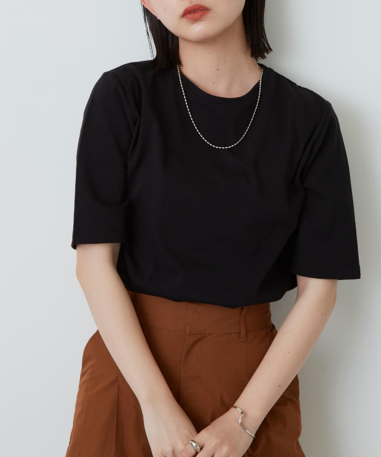 裾ラウンドスリットビッグTシャツ/BLK