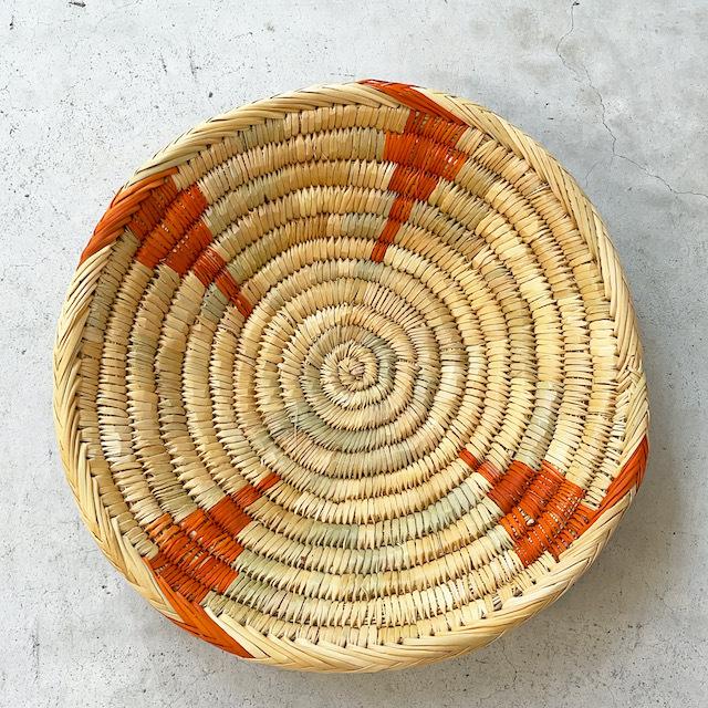 モロッコ 編み込みバスケット 皿 L (柄) φ36cm