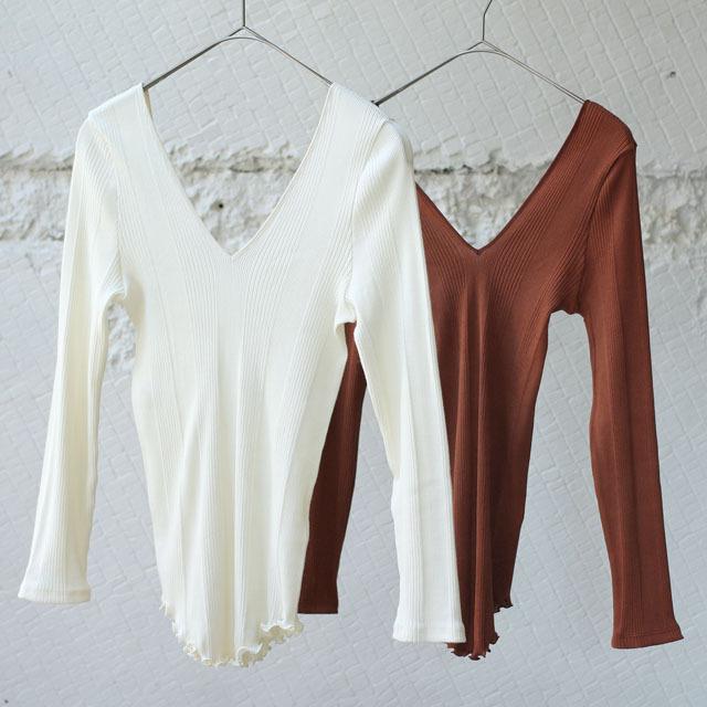 【HAKUJI】Cotton/Silk Random Rib V-Neck Long Sleeve