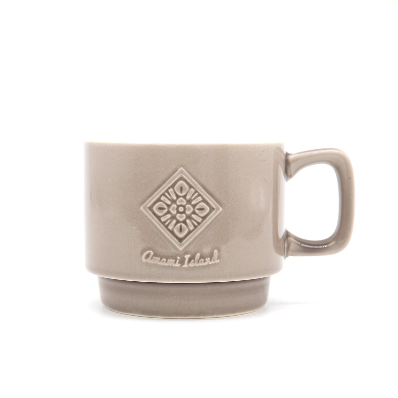 オリジナルマグカップ   グレー   紬柄