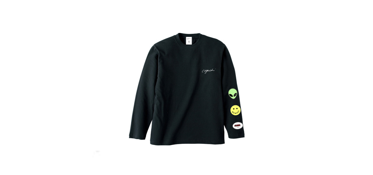 coguchi happy graphic long T-shirts (BLK)