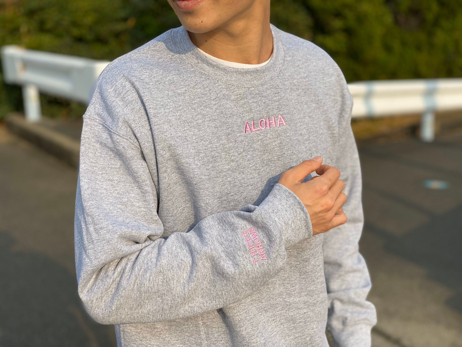 ALOHA 刺繍 SWEAT(grey)