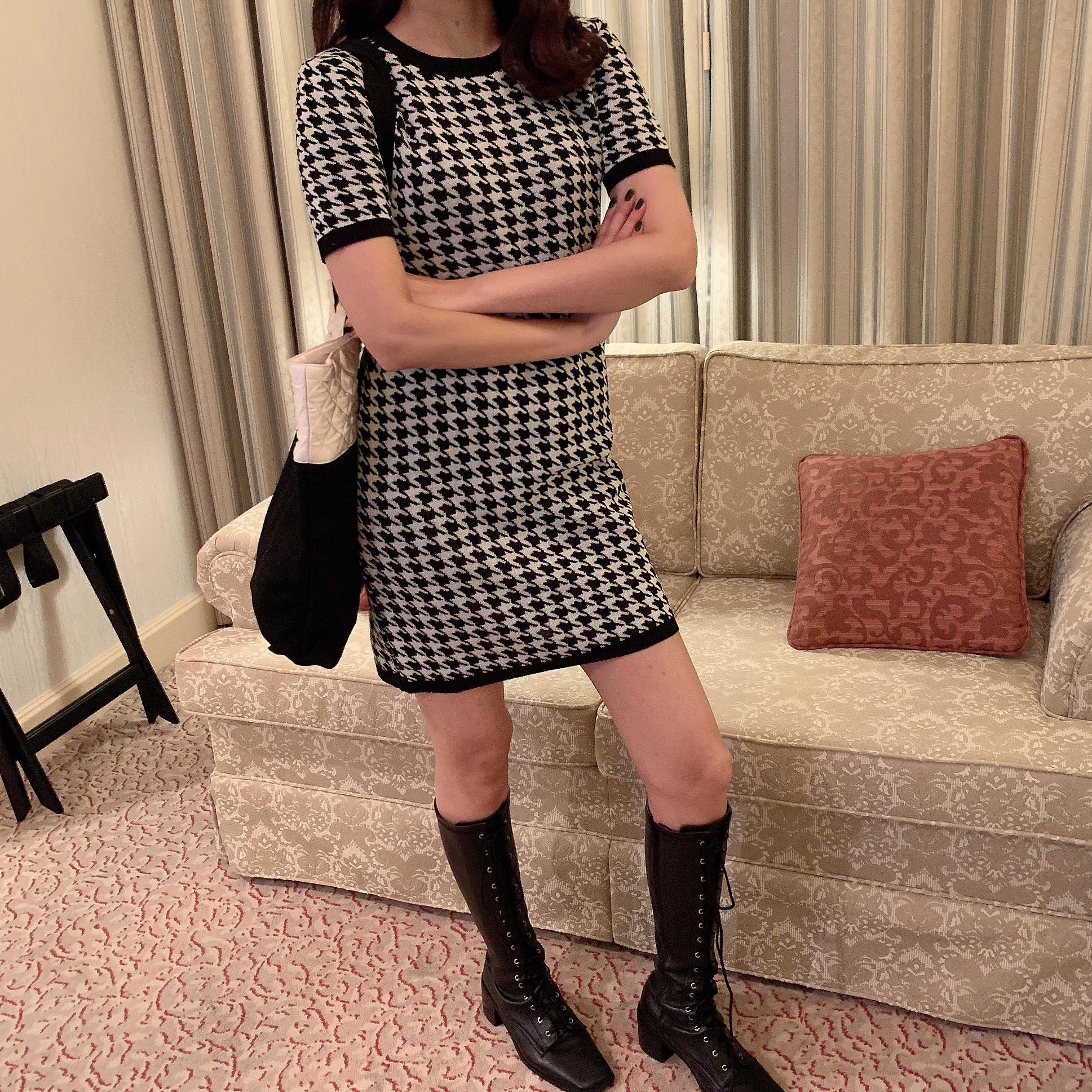 houndstooth knit one-piece