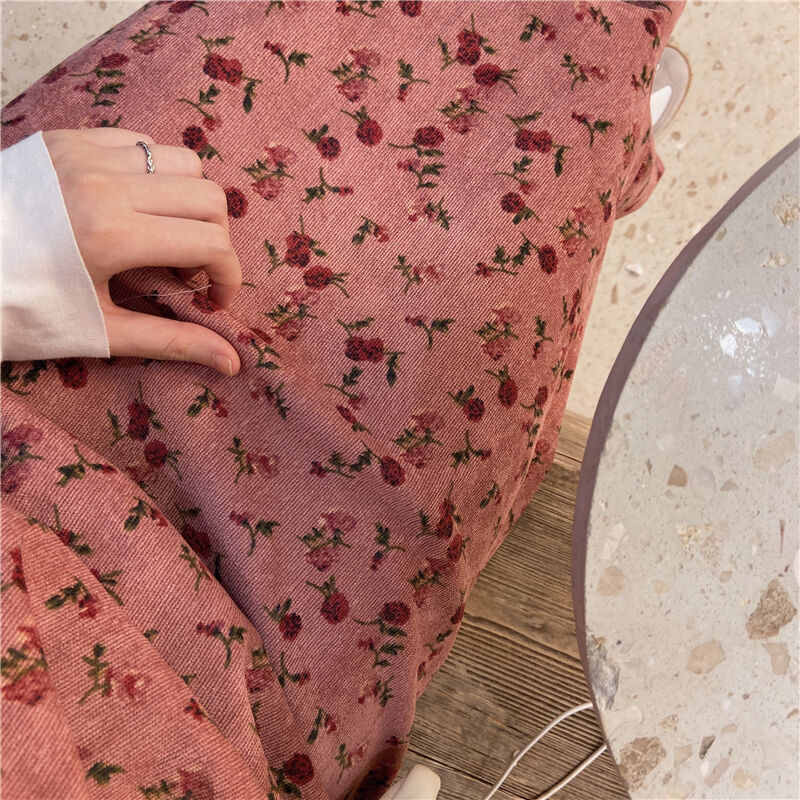 〈カフェシリーズ〉花柄コーデュロイキャミワンピ【flower corduroy camisole one-piece】