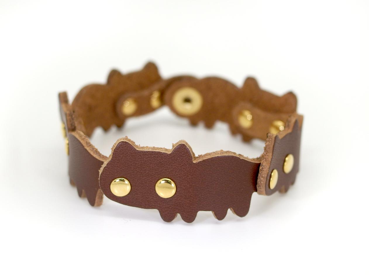 猫連合ブレスレット|茶ネコ(牛革製)