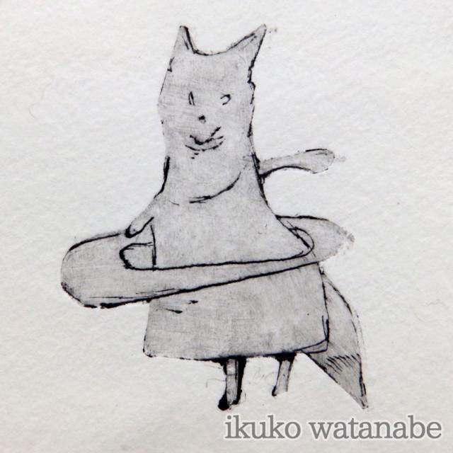 版画カード - キツネフラフープ - わたなべいくこ - no9-wat-04