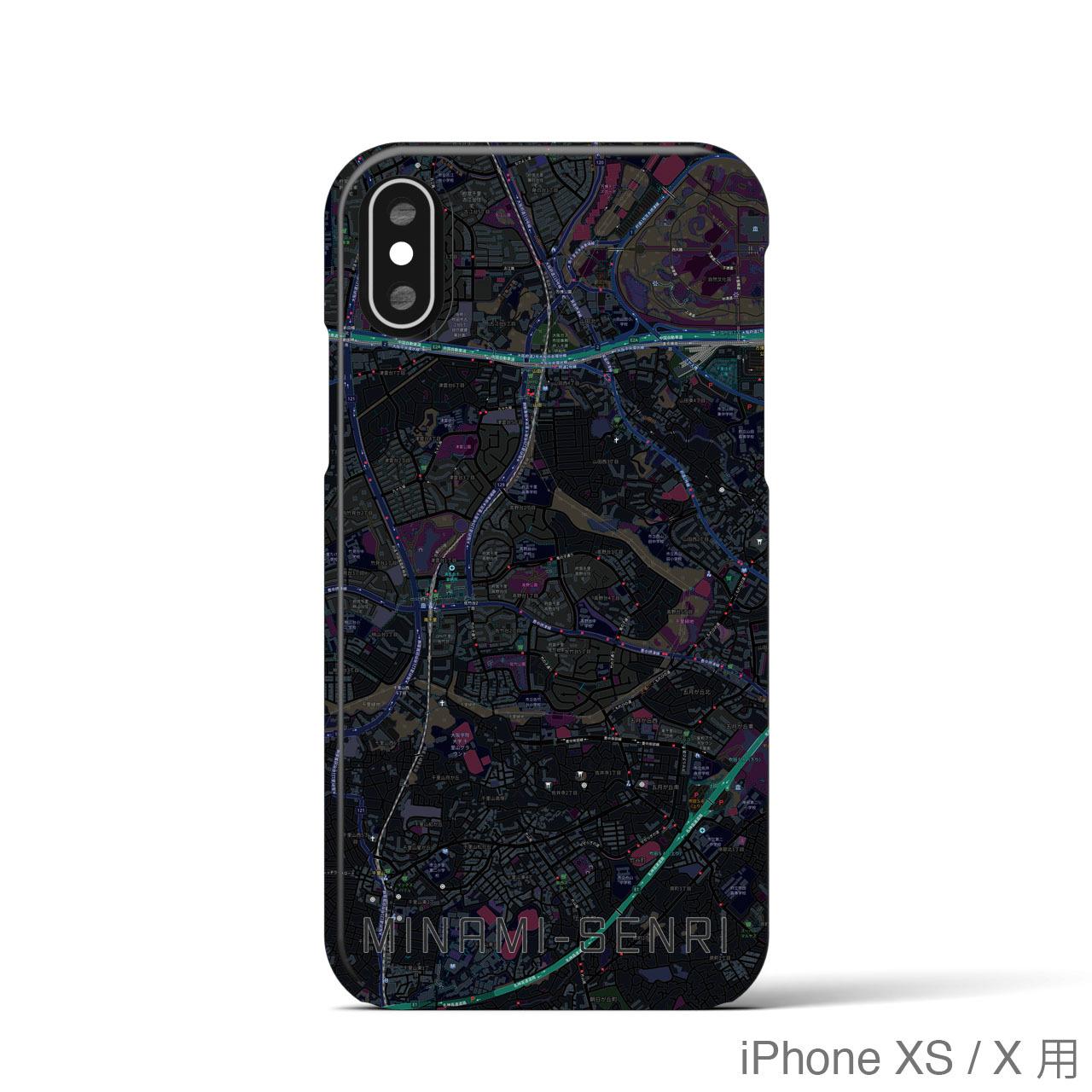 【南千里】地図柄iPhoneケース(バックカバータイプ・ブラック)