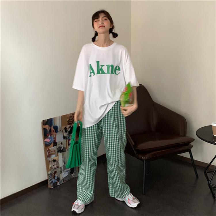 【送料無料】リラックスコーデ  ♡ 2点セット セットアップ 半袖 ロゴ Tシャツ × ギンガムチェック パンツ ルームウェア パジャマ