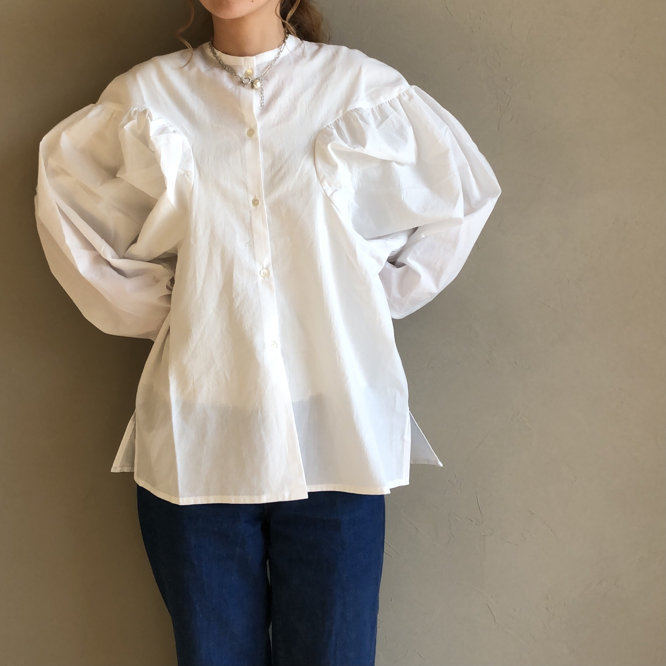 【 NAUS 】- 0034-B - Volume sleeve blouse