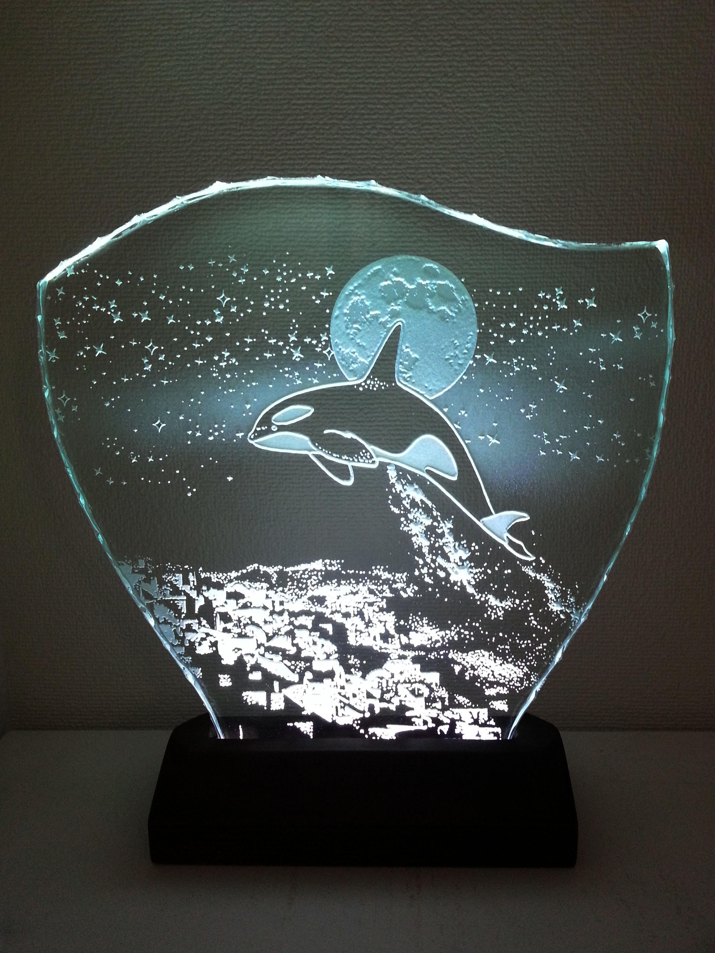 星降る夜・シャチ ガラスエッチングパネル Mサイズ・LEDスタンドセット(オルカ・鯱・ランプ・ライト・照明)