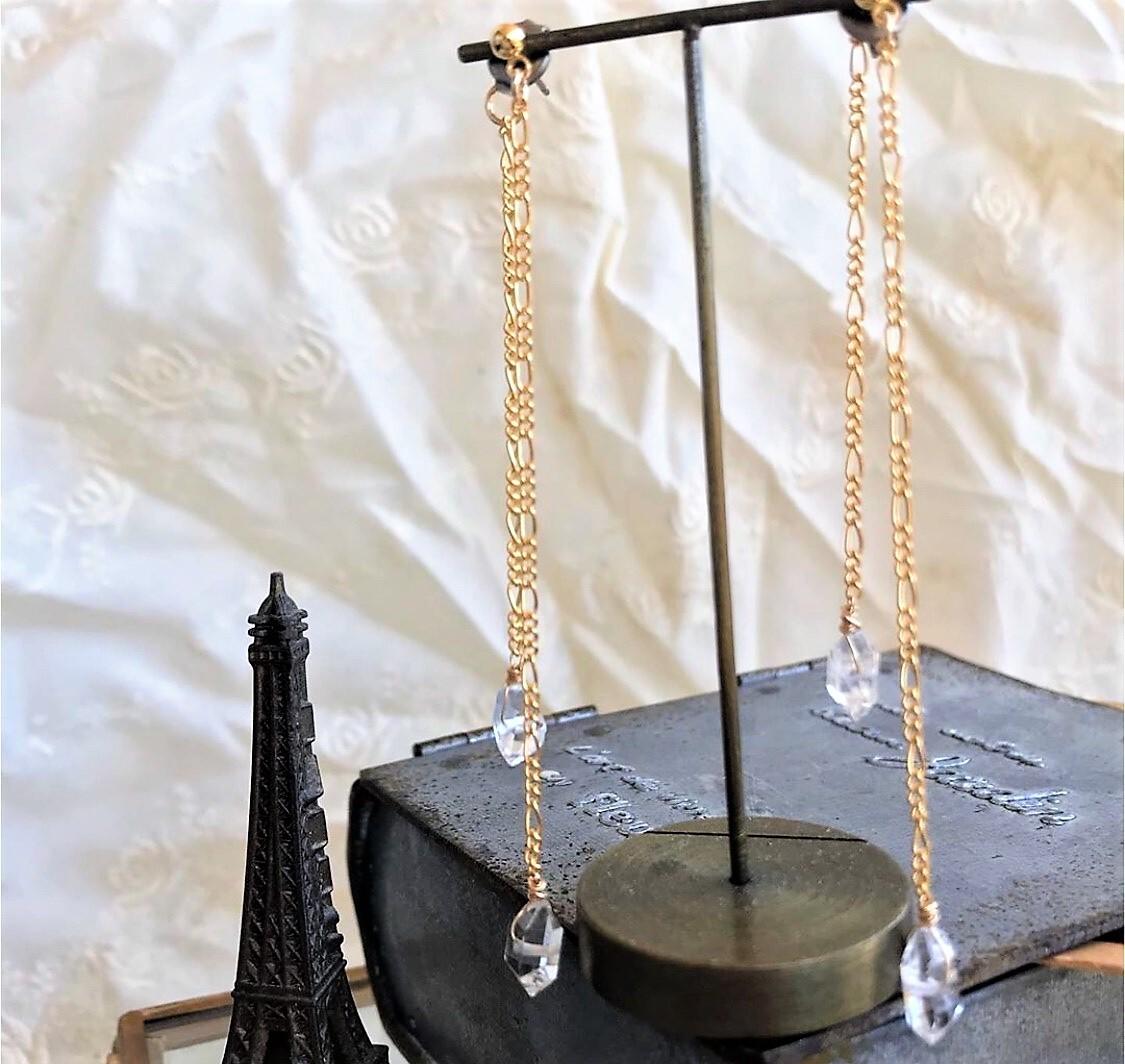 大粒ハーキマーダイヤモンド 14kgfチェーン4粒 ピアス