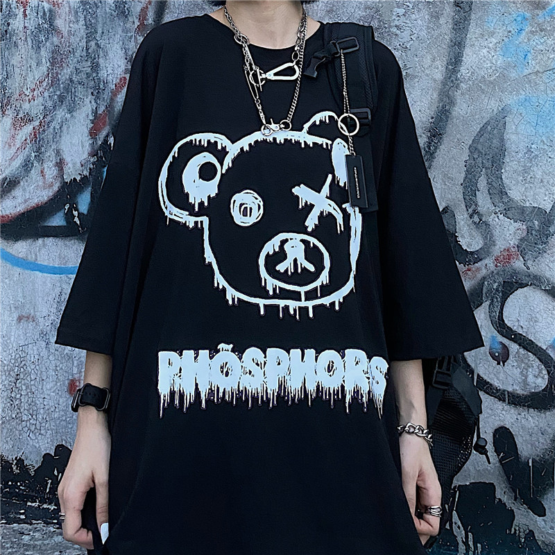ユニセックス Tシャツ 半袖 メンズ レディース ラウンドネック クマちゃん ベアー プリント オーバーサイズ 大きいサイズ ルーズ ストリート