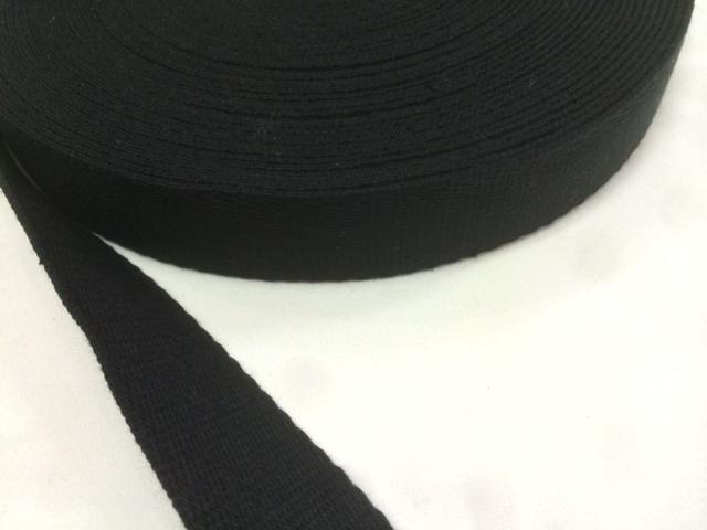 アクリル 三つ綾織  しっかり厚め  黒 25mm幅  5m単位