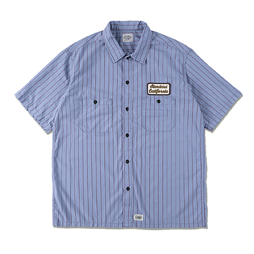 STANDARD CALIFORNIA #SD T/C Stripe Work Shirt Short Sleeve Blue