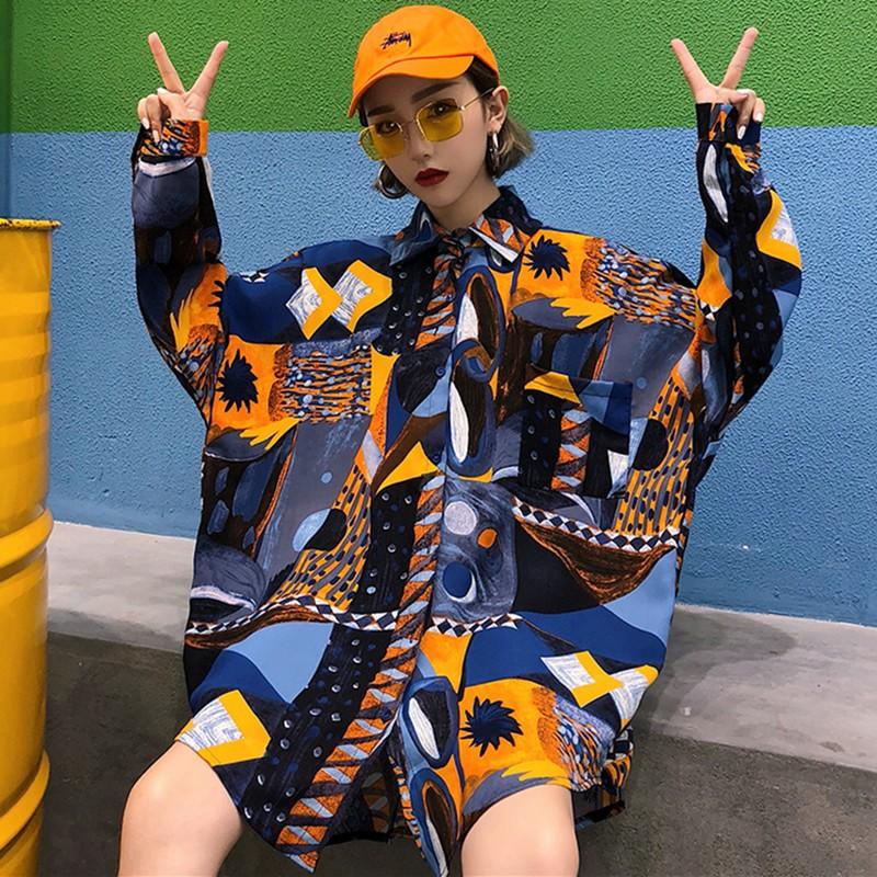 【tops】 原宿風配色ランタンスリーブシャツ22040276