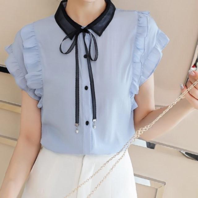 トレンド☆ シャツ 袖フリル 襟リボン 通勤着 デート 女性らしい 甘めコーデ