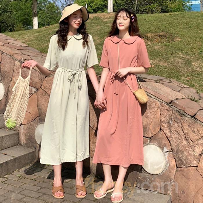 【dress】ファッション無地ラウンドカラーカジュアルワンピース20774889
