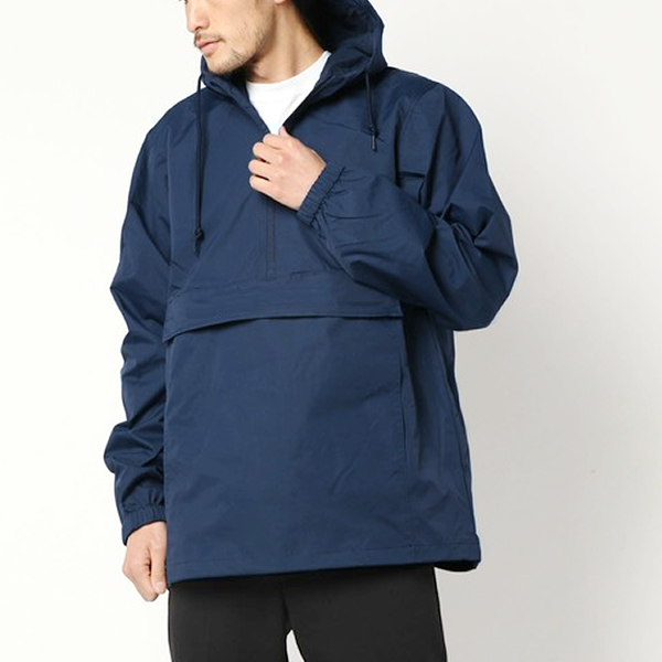 WATER RESISTANT WINDBREAKER ANORAK JACKET - Navy -