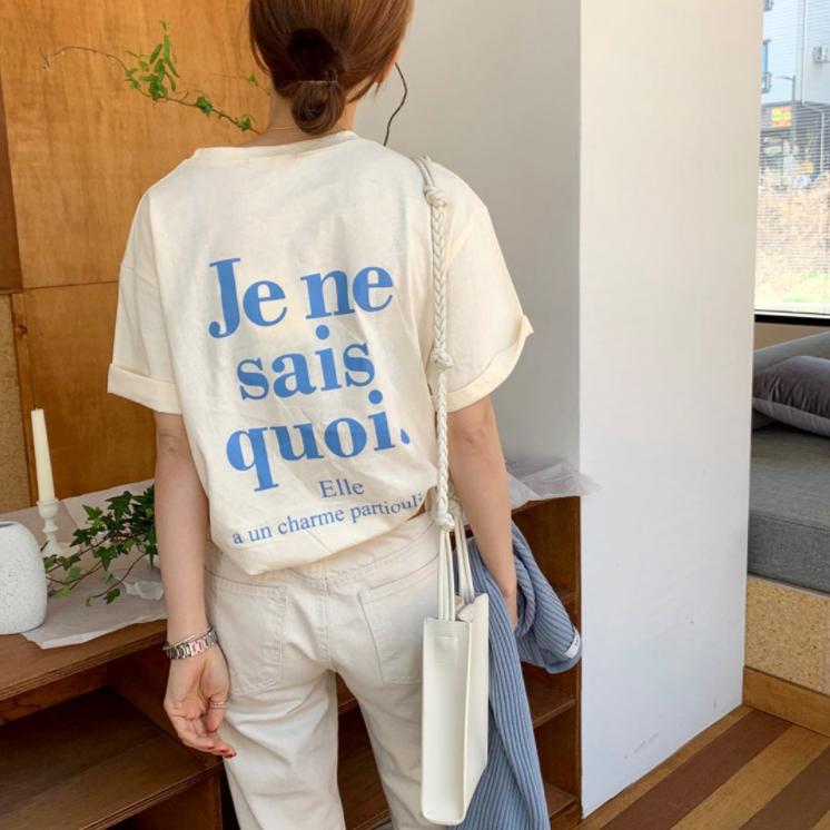 【送料無料】 CUTEなカラー♡ ロゴ Tシャツ バッグプリント 半袖 シンプル カジュアル