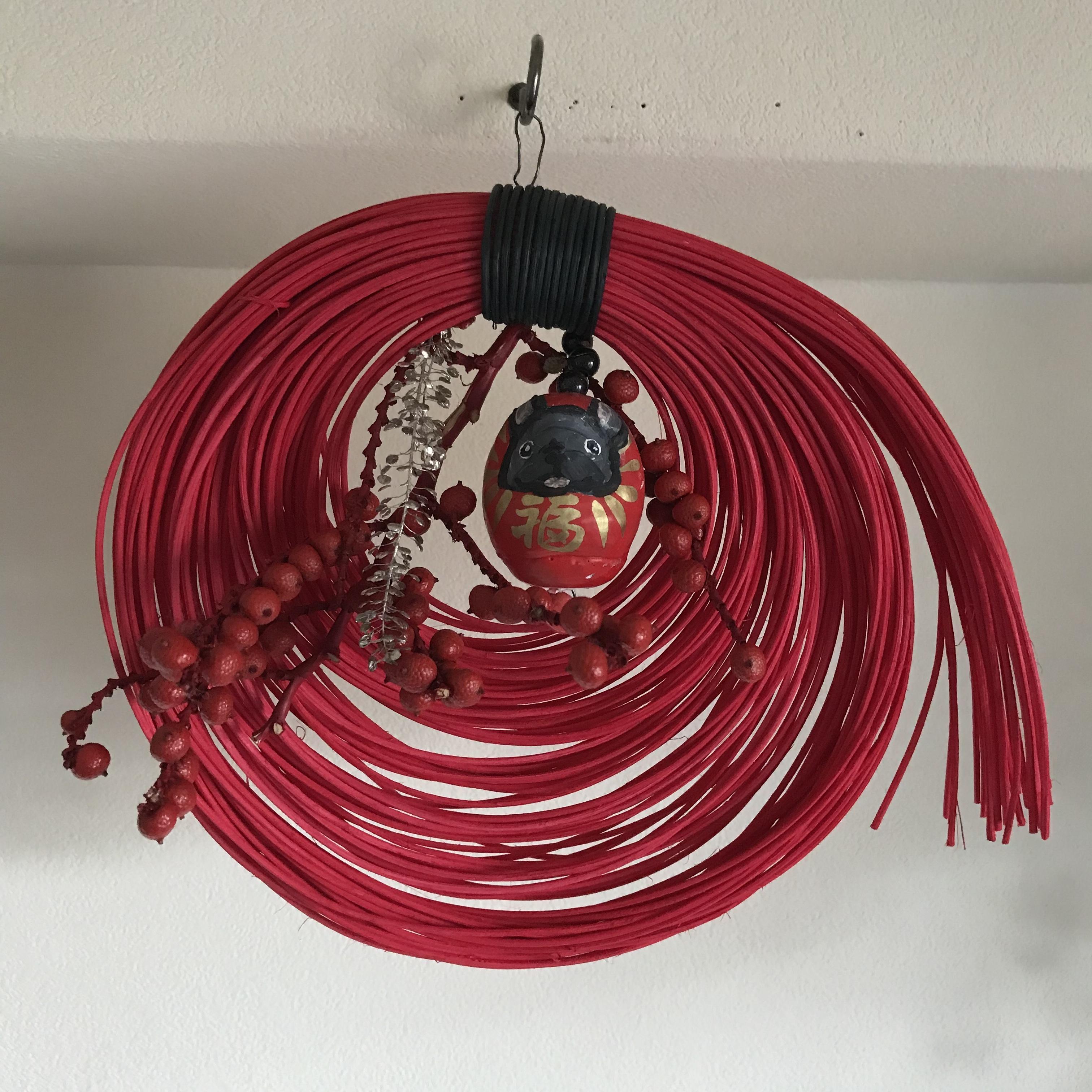 モダンBUHI正月飾り(赤)ブリンドル