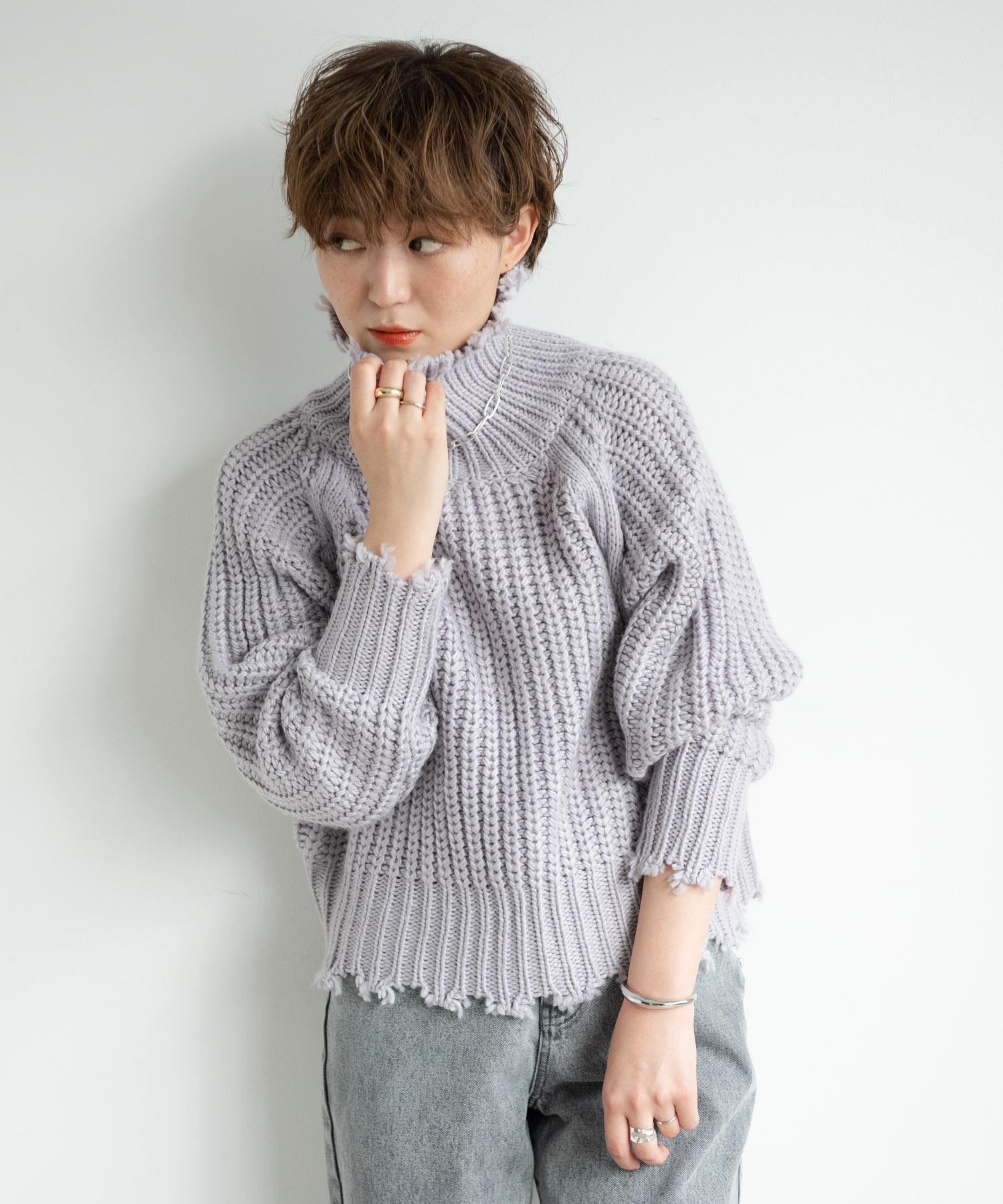 【yukichi.】crush offturtle youth knit/LPUR