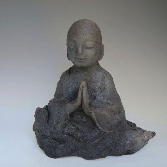 黒陶の仏像 (船越保氏作)F38