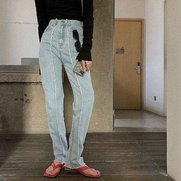 middle line denim loose pants