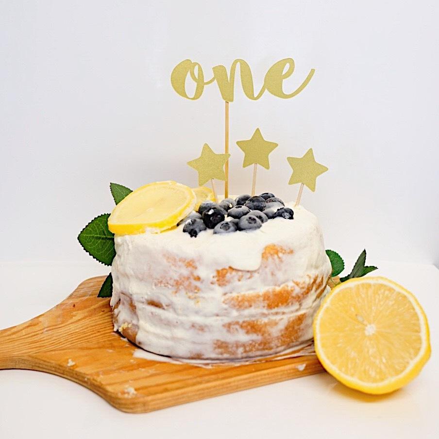 バースデーケーキトッパー(R・名前なし・シャンパンゴールド) 誕生日 飾り付け