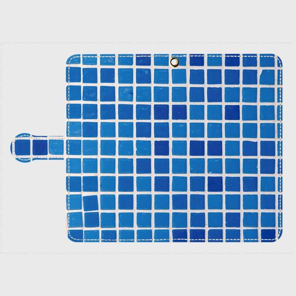 モザイクタイル(青)/ Androidスマホケース(手帳型ケース)