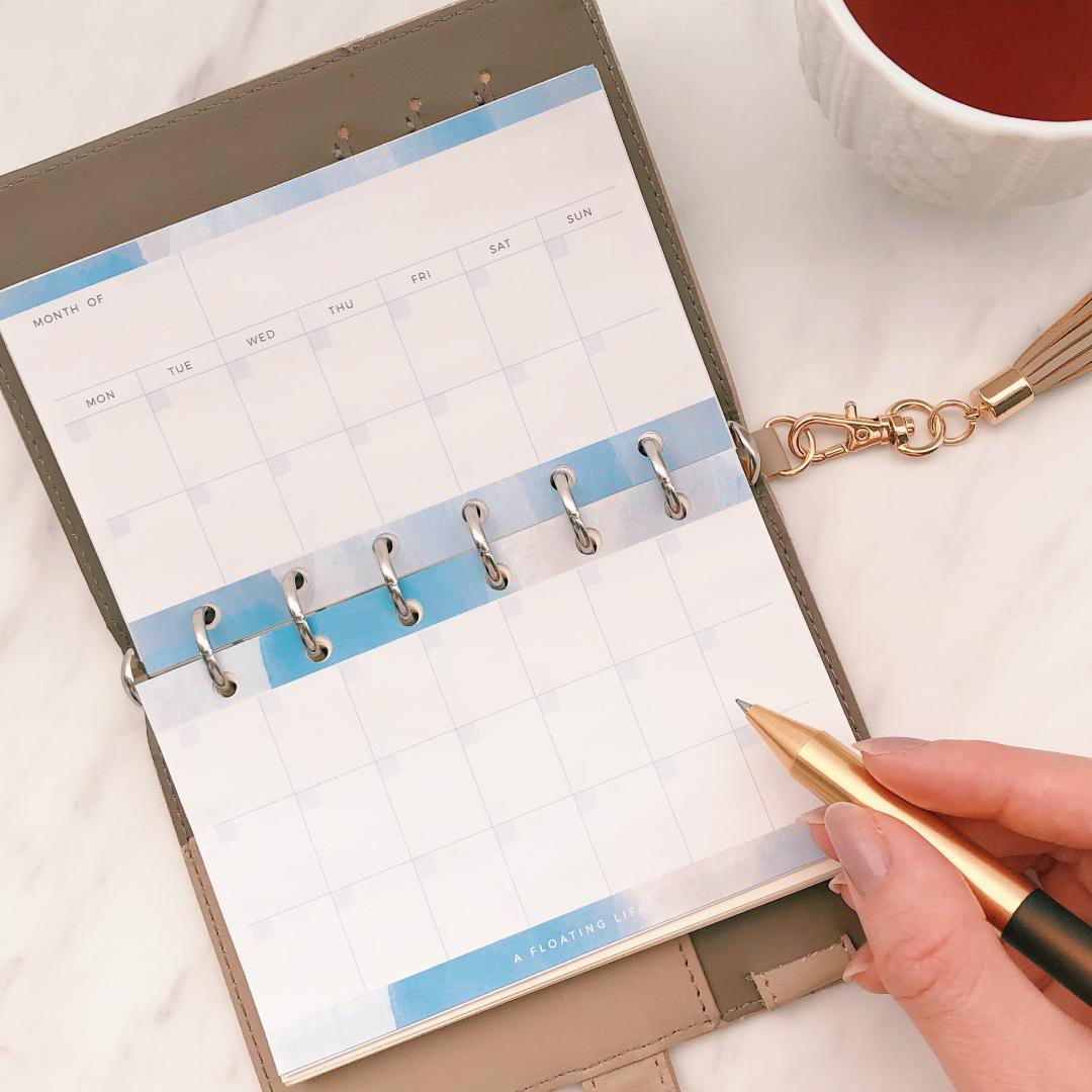 月間カレンダー / ミニ6 / 水彩ブルー(システム手帳リフィル)