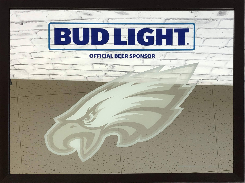 品番0200 パブミラー 『BUD LIGHT(バド ライト)& PHILADELPHIA EAGLES(フィラデルフィア イーグルス)』 壁掛 NFL ディスプレイ アメリカン雑貨