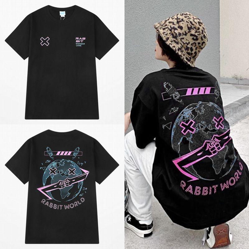 ユニセックス Tシャツ 半袖 メンズ レディース ラウンドネック アースラビット プリント かわいい オーバーサイズ 大きいサイズ ルーズ ストリート