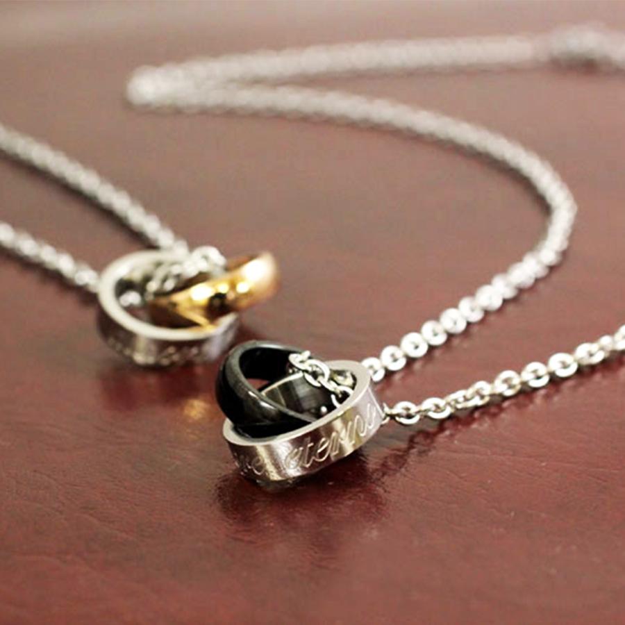 【永遠の愛を誓う】ラインストーン&ステンレス製ペアリングネックレス ブラック/ピンクゴールド(40cm/45cm)
