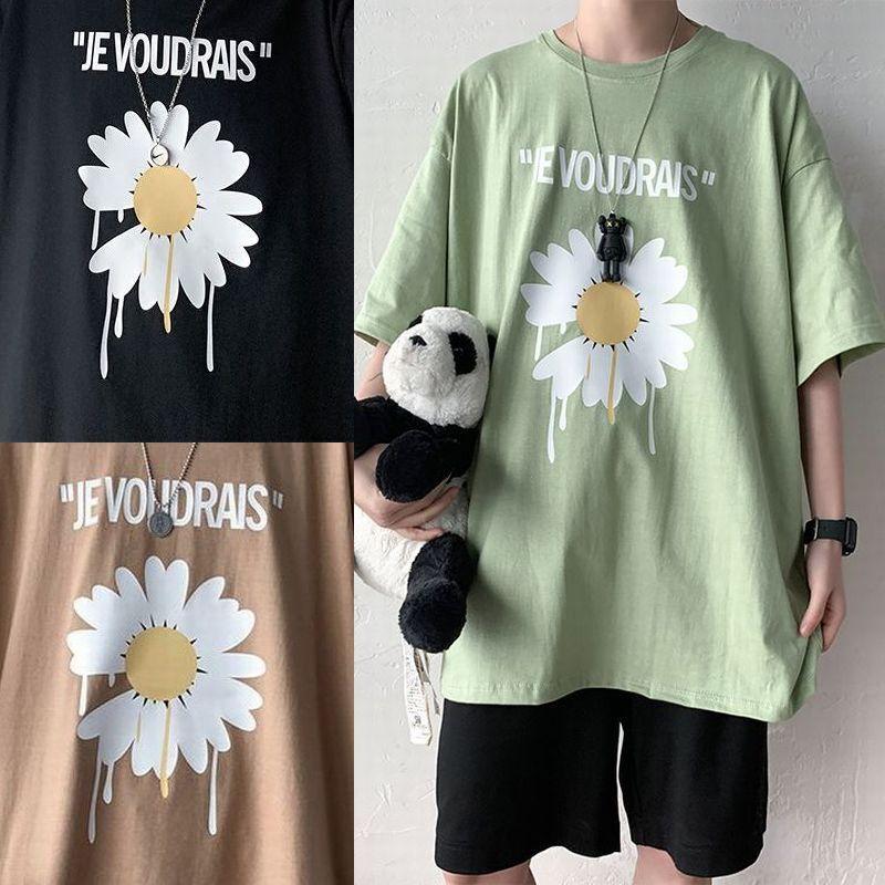 ユニセックス Tシャツ 半袖 メンズ レディース ラウンドネック 英字 フラワー デイジー プリント オーバーサイズ 大きいサイズ ルーズ ストリート