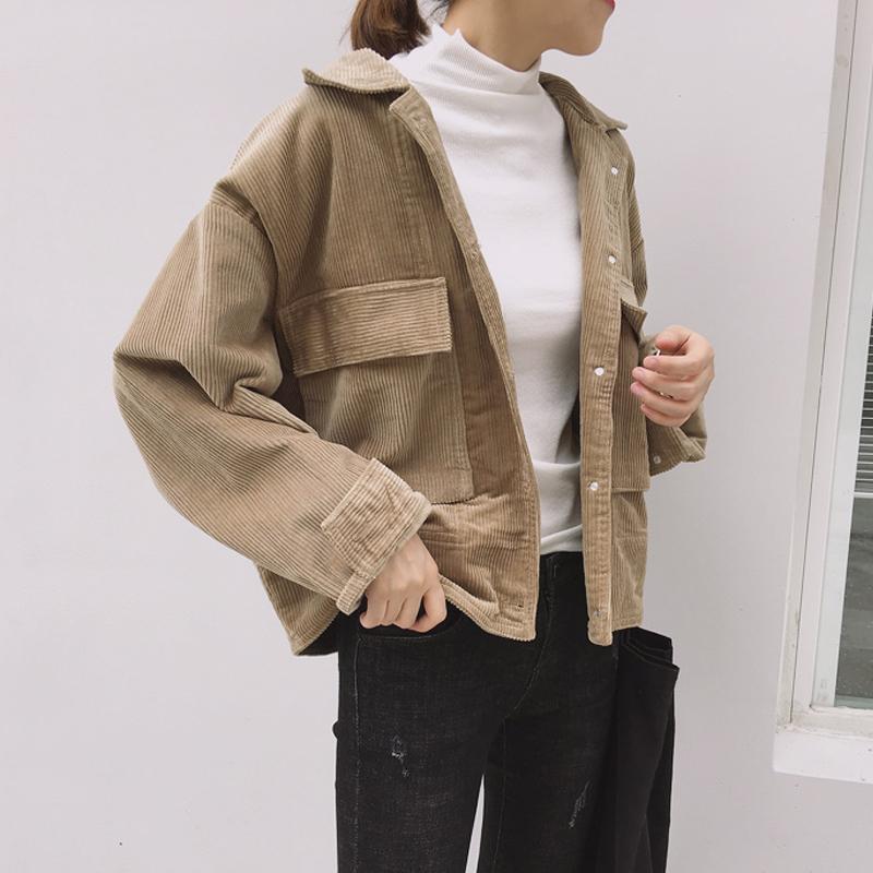 【送料無料】 今っぽジャケット♡ コーデュロイ ショート丈 カジュアル ジャケット ドロップショルダー ルーズシルエット