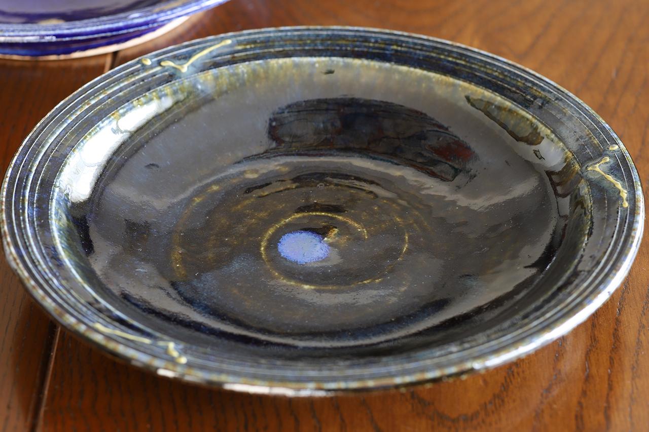 紫香楽海鼠釉 7寸皿 作:谷井芳山・谷寛窯(信楽焼)