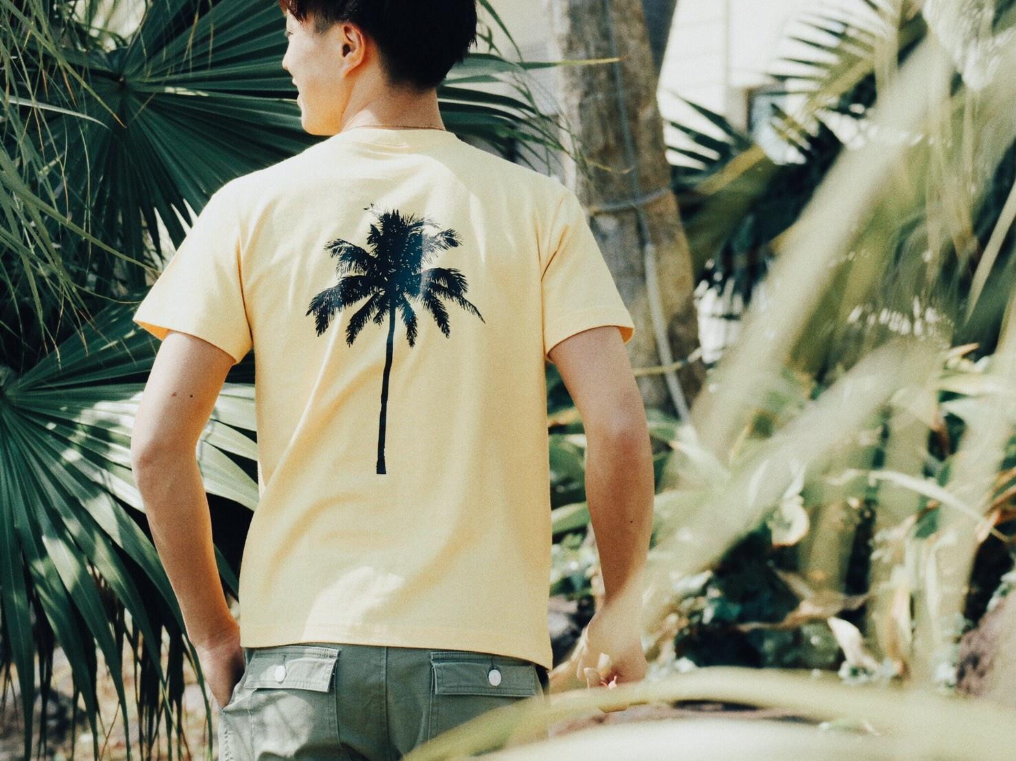 【7/10 21:00再入荷】(Fine7月号掲載) Palm tree Tシャツ (vintage yellow)