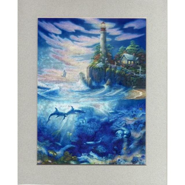 【アルミ彫刻画】灯台下のイルカ[a008ms]