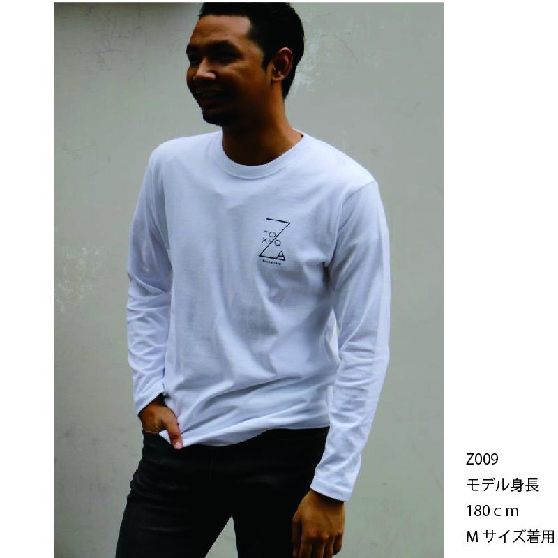 ZA TOKYO 長袖クルーネック  ワンポイント・「Z」ロゴプリントTシャツ Z009
