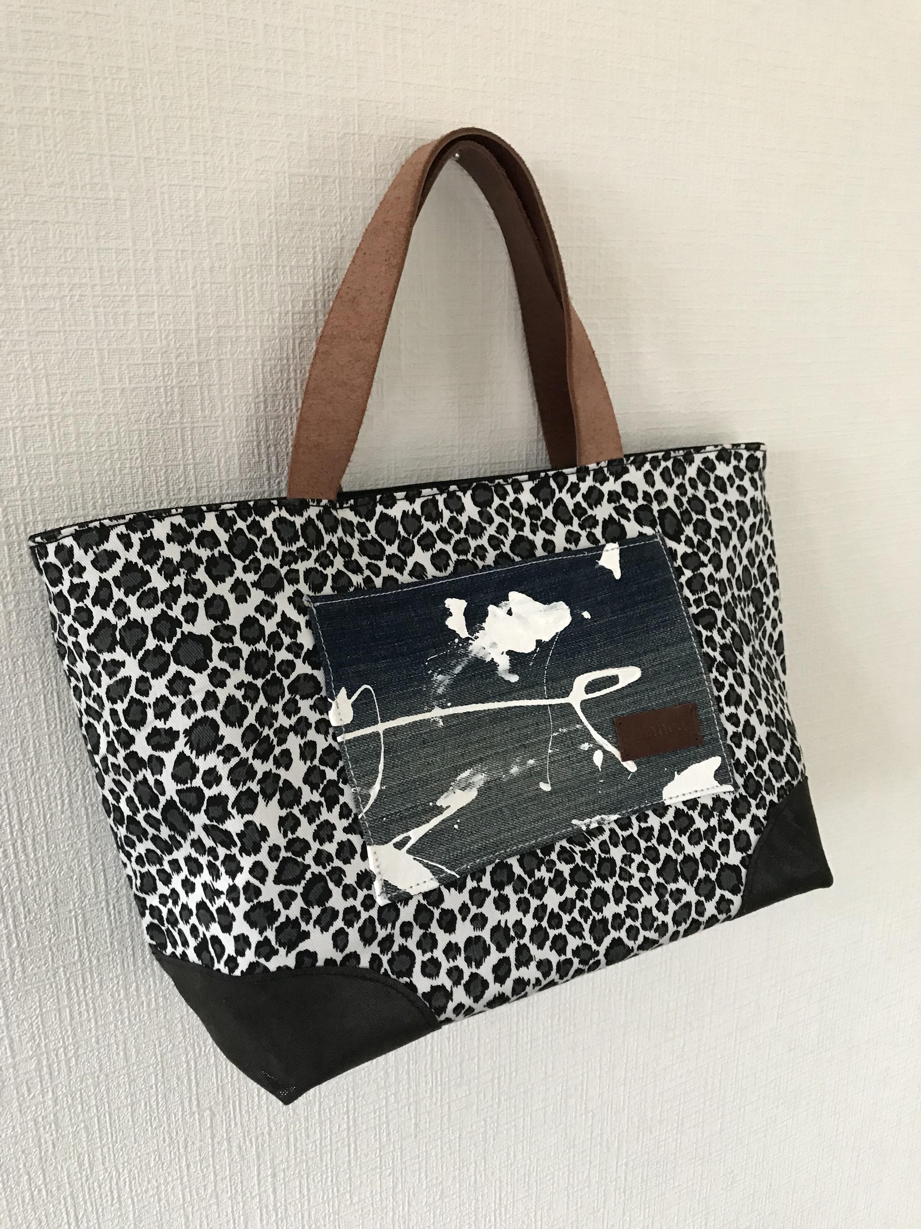 leopard & paint tote bag