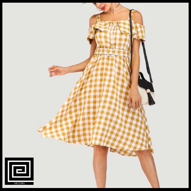 チェックオープンショルダーベルトチェックドレス