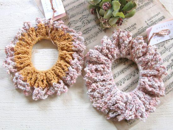 手編みシュシュ*オレンジ・ピンク/sakura