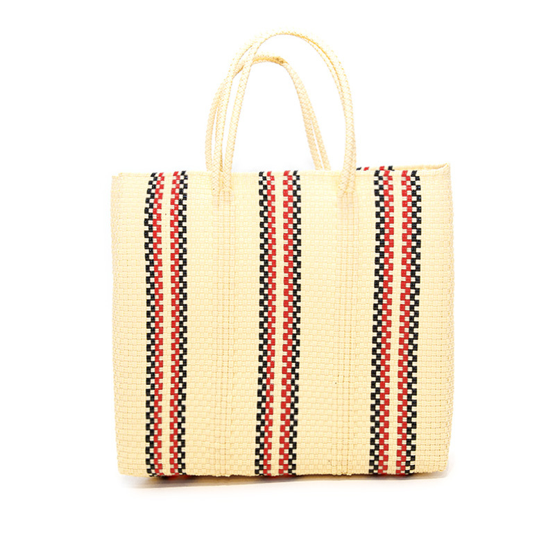 MERCADO BAG QUERDAS-Ivory x Red x Black (M)