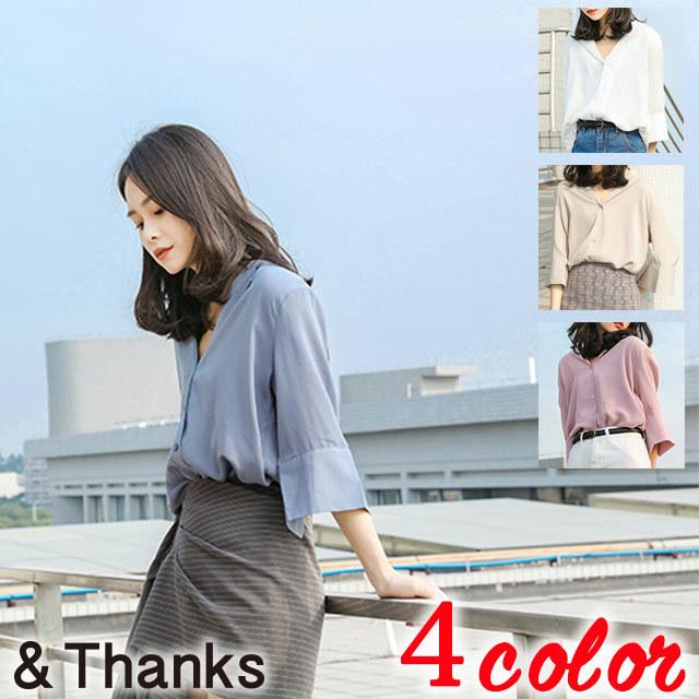 春コーデ オープンカラーハーフスリーブシャツ 4カラー1サイズ