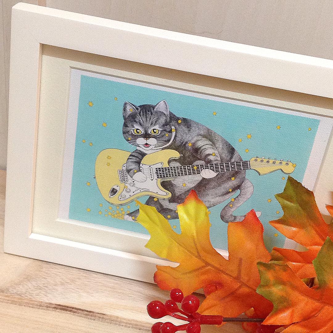 ネコとギター ポストカード