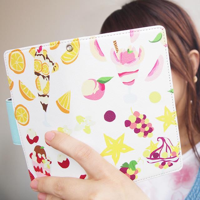手帳型スマホケース【ジュエリーフルーツ 水色】iPhone&Android