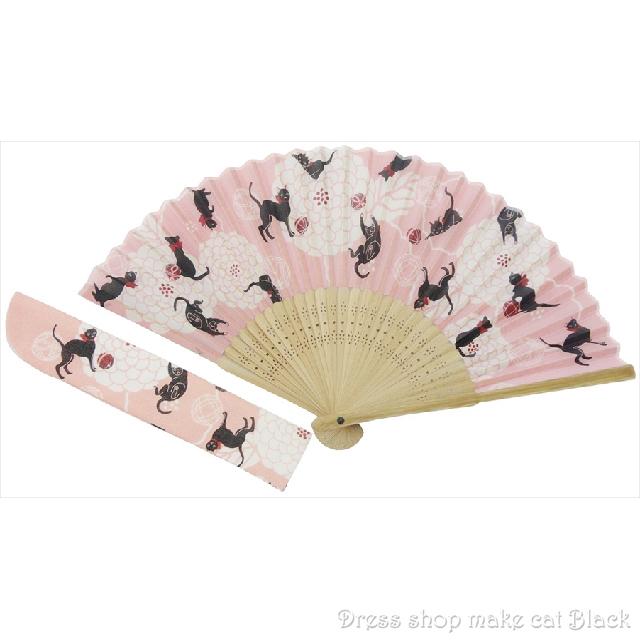 京佑 シルク扇子 袋付 ねこ K-109 夏祭り 浴衣