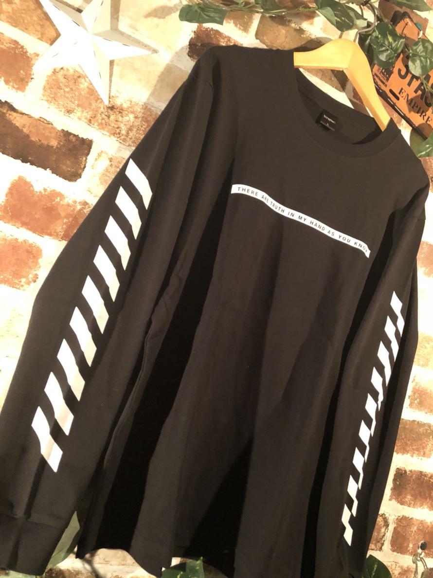 スリーブプリントロンT BLACK ユニセックス レディース メンズ ロンT 袖プリント